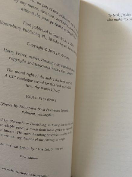 Order of the Phoenix SIGNED Adult Bloomsbury UK 2003